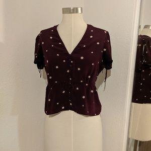 Madewell Burgundy Silk Belle Top in Star mix